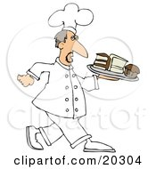Clipart Illustration Of A Male Chef In White Carrying A Tray Of Desserts In A Bakery