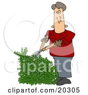 Clipart Illustration Of A White Guy Using Hedge Trimmers To Cut A Green Hedge While Doing Yard Work