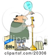 Clipart Illustration Of A Middle Aged White Guy Putting A Huge 800 Watt Lightbulb In A Tall Lamp In His Living Room