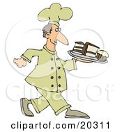 Clipart Illustration Of A Happy White Male Chef In A Yellow Hat And Uniform Carrying A Cupcake And Slices Of Cake On A Tray In A Bakery