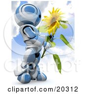 Clipart Illustration Of A Blue And White AO Maru Robot Carrying A Large Yellow Sunflower Against A Cloudy Blue Sky Background