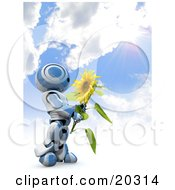 Clipart Illustration Of A Blue And White AO Maru Robot Holding A Big Yellow Sunflower Under A Burst Of Sunlight In A Cloudy Blue Sky by Leo Blanchette