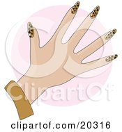 Womans Hand With Acrylic Leopard Print Fingernails After A Manicure Over A Pink Circle