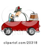 Man Driving A Red Compact Convertible Truck With A Beer Keg In The Back Delivering Brew To An Oktoberfest Party