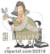 Clipart Illustration Of A Lady Cutting The Ground Prong Off Of A Vacuume Electrical Plug In Chord In Order To Get It To Fit Into The Socket