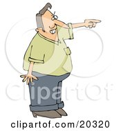 Clipart Illustration Of A Frustrated Man Pointing And Shouting And Asking A Tresspasser To Leave His Private Property