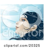 Clipart Illustration Of A Young Beautiful Caucasian Woman With Blue Eyes And Dark Hair Looking Up At The Wintry Sky As Snowflakes Fall Around Her Face
