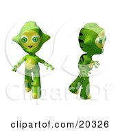 Clipart Illustration Of Two Cute Green And Yellow Alien Toys Walking And Looking Around Curiously After Arriving In A New Environment by Tonis Pan