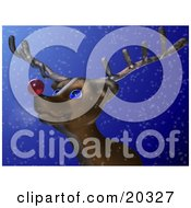 Clipart Illustration Of Rudolph The Red Nosed Reindeer Standing In The Snow On A Cold Winter Night Looking Upwards At The Sky With His Big Blue Eyes Looking Forward To Leading Santas Sleigh