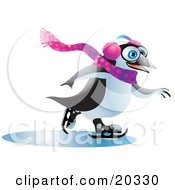 Clipart Illustration Of A Jolly Blue Eyed Penguin Wearing Ear Muffs And A Scarf Having Fun While Ice Skating On Frozen Water On A Winter Day