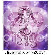 Cute Purple Manga Girl With Her Long Hair In Pig Tails Carrying A Book And Surrounded By Glowing Flowers And Magic Dust