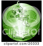 Clipart Picture Of A Cute Green Manga Boy Reading A Library Book Floating Upwards In Magic Dust As His Imagination Runs Wild