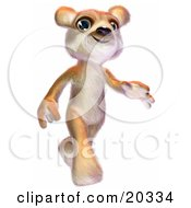 Clipart Picture Of A Cute And Jolly Teddy Bear With Lots Of Fur Smiling And Walking Like A Human
