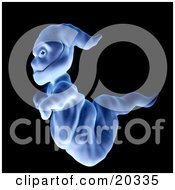 Poster, Art Print Of Demonic Blue Ghoul Passing By And Glancing At The Viewer