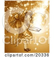 Clipart Picture Of A Cute Long Haired Manga Girl In A Dress Holding A Magical Book Open While Floral Particles And Light Spin Around Her