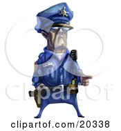 Tough Male Police Officer In A Blue Uniform, Holding His Fingers Out Like A Pistil