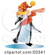 Happy Black And White Penguin Bird In A Spotted Wintry Hat And An Orange Scarf Dancing On A Frozen Body Of Water