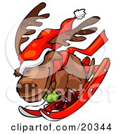 Clipart Illustration Of A Reindeer Character Wearing A Santa Hat And A Scarf Huddled Up And Riding Downhill While Sledding