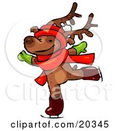 Reindeer Character Wearing A Santa Hat Scarf And Mittens Holding His Arms Out While Figure Ice Skating