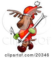 Clipart Illustration Of A Reindeer Character Wearing A Santa Hat Mittens And A Sweater Carrying Skis And Poles And Going Skiing