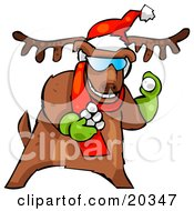Clipart Illustration Of A Reindeer Character Wearing A Santa Hat And Red Scarf And Green Gloves Tossing Snowballs To Start A Fight by Tonis Pan