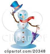Clipart Illustration Of A Friendly Snowman Wearing A Red Scarf Holding An Umbrella And Lifting His Hat While Greeting