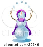 Jolly Snowman Wearing A Purple And Pink Cape And Hat Looking Upwards And Juggling Snowballs