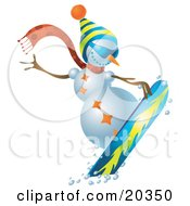 Sporty Snowman Wearing A Hat And Scarf Snowboarding On Slopes