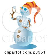 Mischievous Snowman Wearing An Orange Hat Holding A Stack Of Snowballs And Preparing To Start A Snow Ball Fight