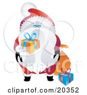 Clipart Illustration Of Saint Nicholas In His Red And White Uniform Holding Wrapped Gifts For Good Boys And Girls