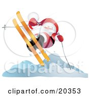 Clipart Illustration Of Father Christmas In His Red And White Uniform Catching Cold Air While Skiing