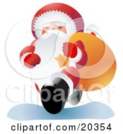 Santa Claus In His Red And White Uniform Smiling While Carrying A Heavy Sack Of Toys Over His Shoulder