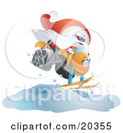 Clipart Illustration Of Kris Kringle In His Red And White Uniform Catching Air While Snowmobiling by Tonis Pan
