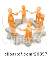 Clipart Illustration Of A Group Of Orange Business Colleagues Holding Hands And Standing In A Circle On A Cog Gear Symbolizing Teamwork And Support