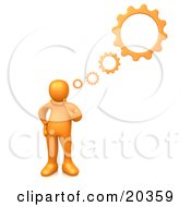 Orange Person Inventing A Creation In His Head Cog Wheel Thought Bubbles Above Him