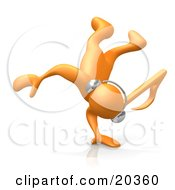 Orange Person With A Music Note Head Listening To Tunes Through Headphones And Break Dancing Balancing On His Hand by 3poD
