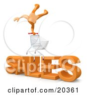 Poster, Art Print Of Happy Orange Person Doing A Stunt On Top Of A Shopping Cart Over Big Orange Text Reading Sales