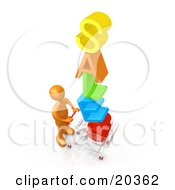 Clipart Illustration Of An Orange Person Pushing A Shopping Cart With The Colorful Word SALES In The Cart Getting Great Deals During A Store Promotion
