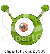 Happy Green Round Alien With An Orange Eye And Two Green Antenna Ears