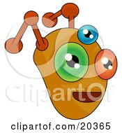 Clipart Illustration Of A Monster Or Alien Face With Orange Antennae And Three Eyes One Orange One Blue And One Green by Tonis Pan