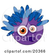 Clipart Illustration Of A Scared Purple Alien Or Monster Face With Blue Spikes On The Head And Big Orange Eyes