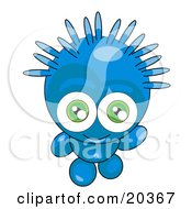 Clipart Illustration Of A Friendly Blue Alien With Spiky Green Hair And Big Green Eyes Looking Upwards And Waving