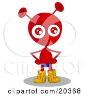 Clipart Illustration Of A Proud Red Alien With Antenna Ears And Red Eyes Wearing A Blue Speedo And Golden Boots Standing With His Hands On His Hips by Tonis Pan