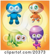 Collection Of Four Cute Baby Aliens One Blue One Orange One Green One Purple by Tonis Pan