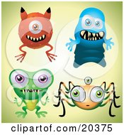 Clipart Illustration Of A Collection Of Four Scary Monsters With Teeth Over A Pale Green Background