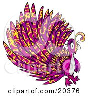Poster, Art Print Of Psychadelic Purple Peacock With Yellow Swirl Patterns