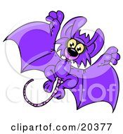 Clipart Illustration Of An Adorable Purple Flying Bat With A Long Rats Tail Looking At The Viewer While Flying Past