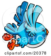 Clipart Illustration Of A Chubby Bluebird With A White Belly Flying Through The Sky by Tonis Pan