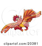 Clipart Illustration Of A Looney Orange Rooster Flying With His Feet Sticking Outwards
