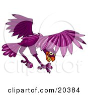 Clipart Illustration Of An Aggressive Purple Falcon Grinning And Diving To Hunt Prey by Tonis Pan